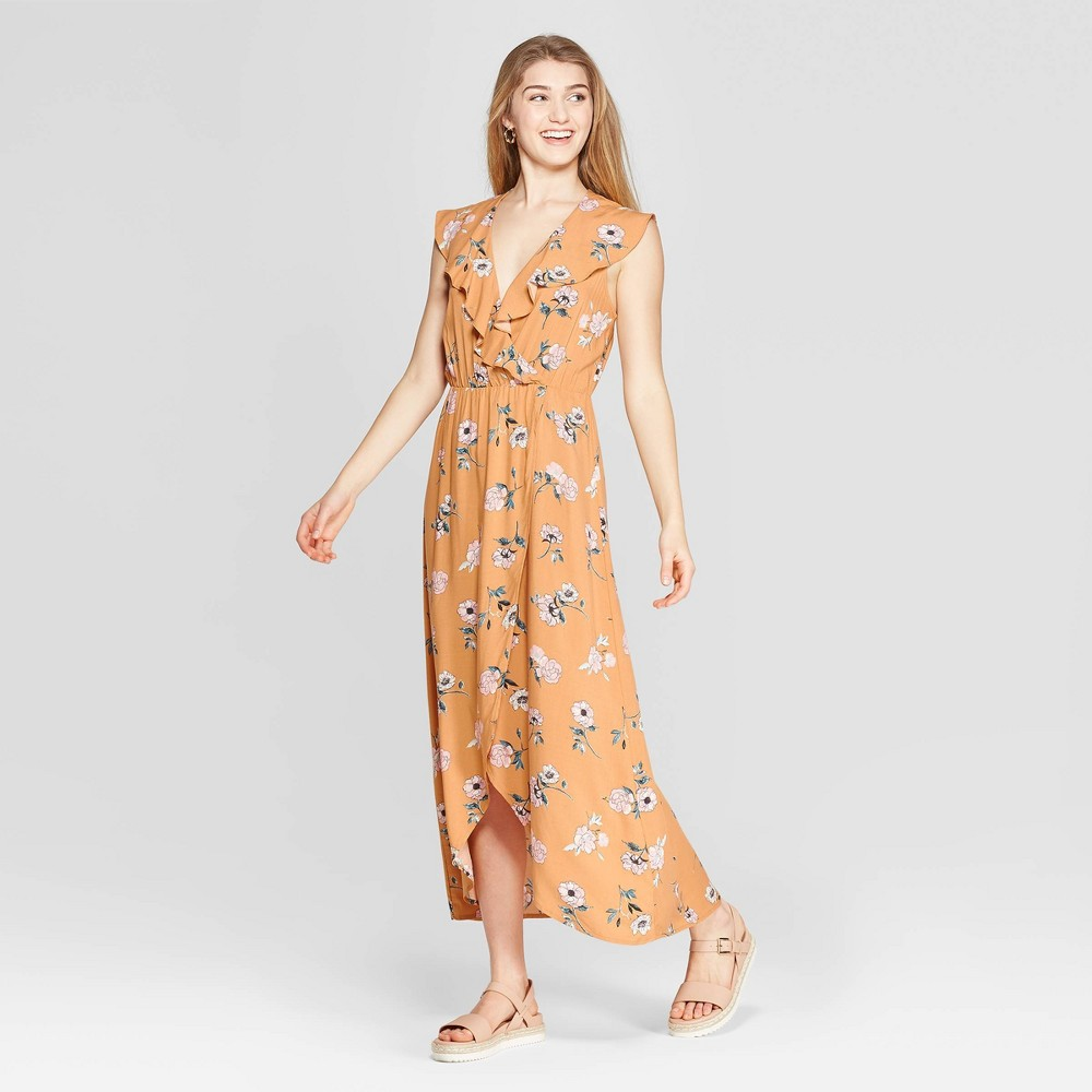 Women's Floral Print Flutter Sleeve V-Neck Wrap Maxi Dress - Xhilaration Gold XL