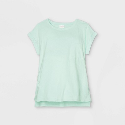 Linen Like Cuff Short Sleeve Maternity T-Shirt - Isabel Maternity by Ingrid & Isabel™