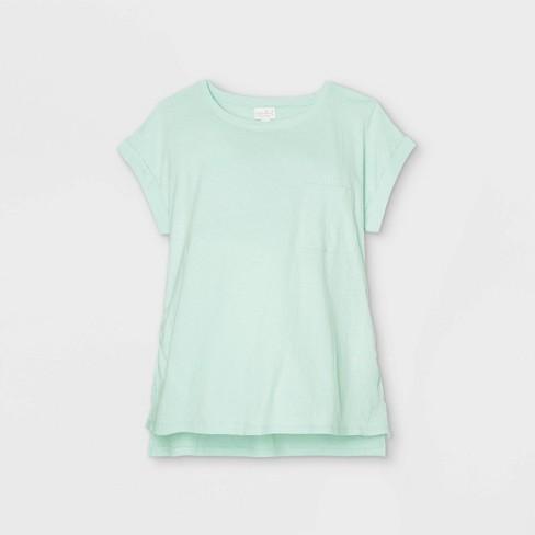 Linen Like Cuff Short Sleeve Maternity T-Shirt - Isabel Maternity by Ingrid & Isabel™ - image 1 of 2