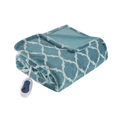 Electric Ogee Printed Oversized Throw 60x70  Teal - Beautyrest
