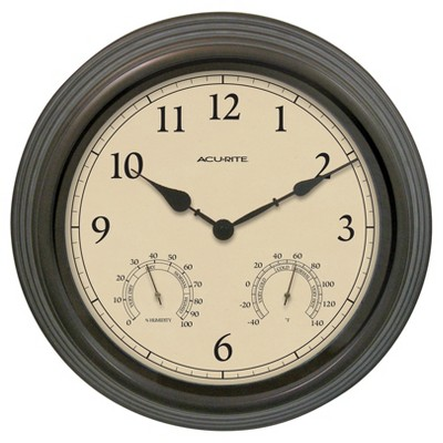 15  Outdoor / Indoor Wall Clock with Thermometer and Humidity - Weathered Bronze Finish - Acurite