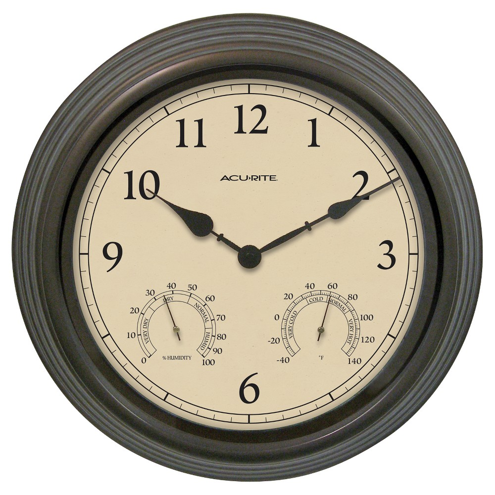 """Image of """"15"""""""" Outdoor / Indoor Wall Clock with Thermometer and Humidity - Weathered Bronze Finish - Acurite, Yellow"""""""