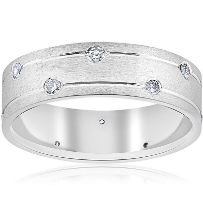 Pompeii3 Mens 14k White Gold Diamond Comfort Fit Wedding Ring Band 6MM - Size 8.5