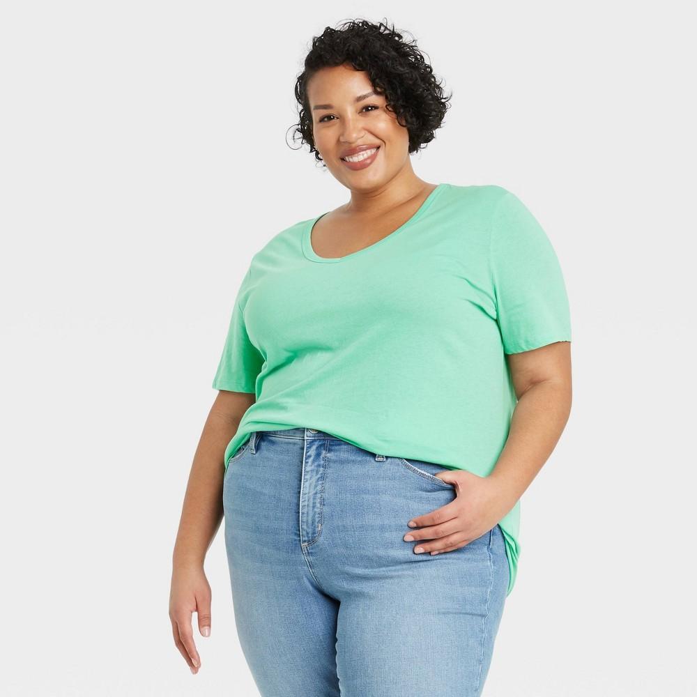 Women 39 S Plus Size Short Sleeve V Neck Slim Fit Essential T Shirt Ava 38 Viv 8482 Mint 3x