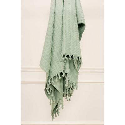 "50""x60"" Textured Striped Throw Blanket Aqua - Rizzy Home"