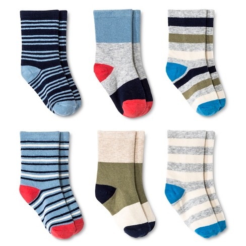 Toddler Boys' Multicolored Stripe Crew Dress Socks 6 pk Circo™ - Blue 4T-5T - image 1 of 1