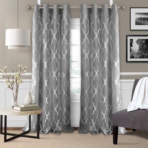Bethany Sheer Overay Blackout Window Curtain Panel - Elrene Home Fashions - image 1 of 4