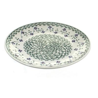 Blue Rose Polish Pottery Sage Floral Dinner Plate