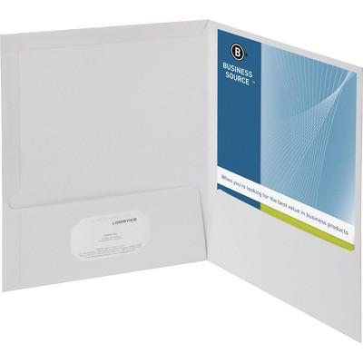 Business Source Two Pocket Folder Ltr 2-Pkts 100 Shts 25/BX WE 44424