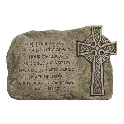 Transpac Stone 10 in. Brown St. Patrick's Day Irish Blessing Stone