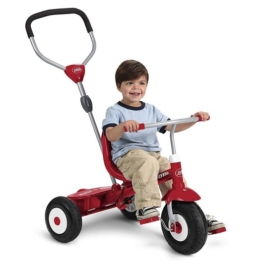 Radio Flyer Sport 4 in 1 All Terrain Kids Stroll 'N Trike Ride On Tricycle, Red image number null