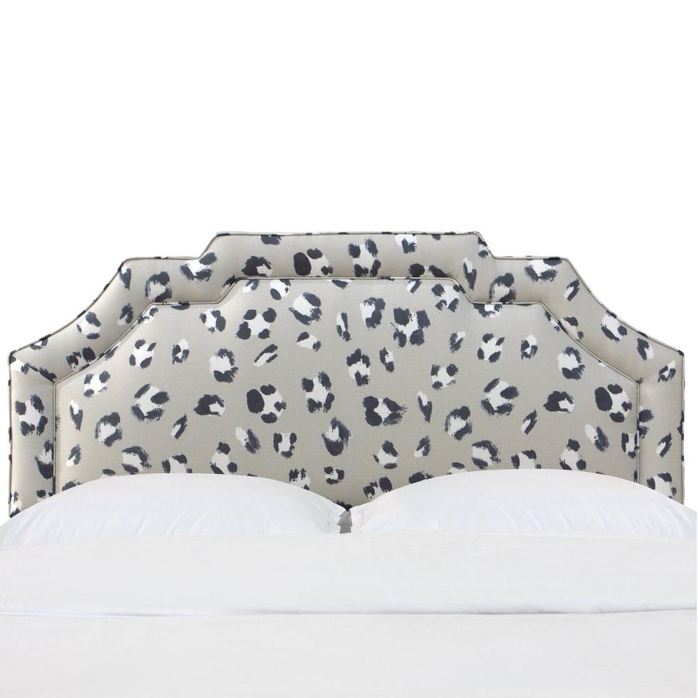 King Notched Border Headboard in Brush Cheetah Gray/Ivory - Cloth & Co.