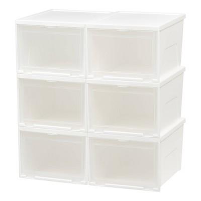 Iris 6pk Front Entry Stacking Shoe Box High   White by White