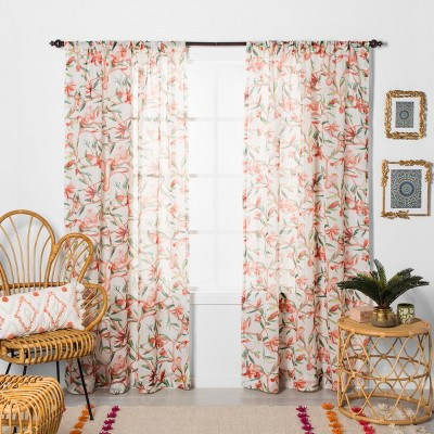 "84""x54"" Tropical Floral Sheer Window Curtain Panel Orange - Opalhouse™"
