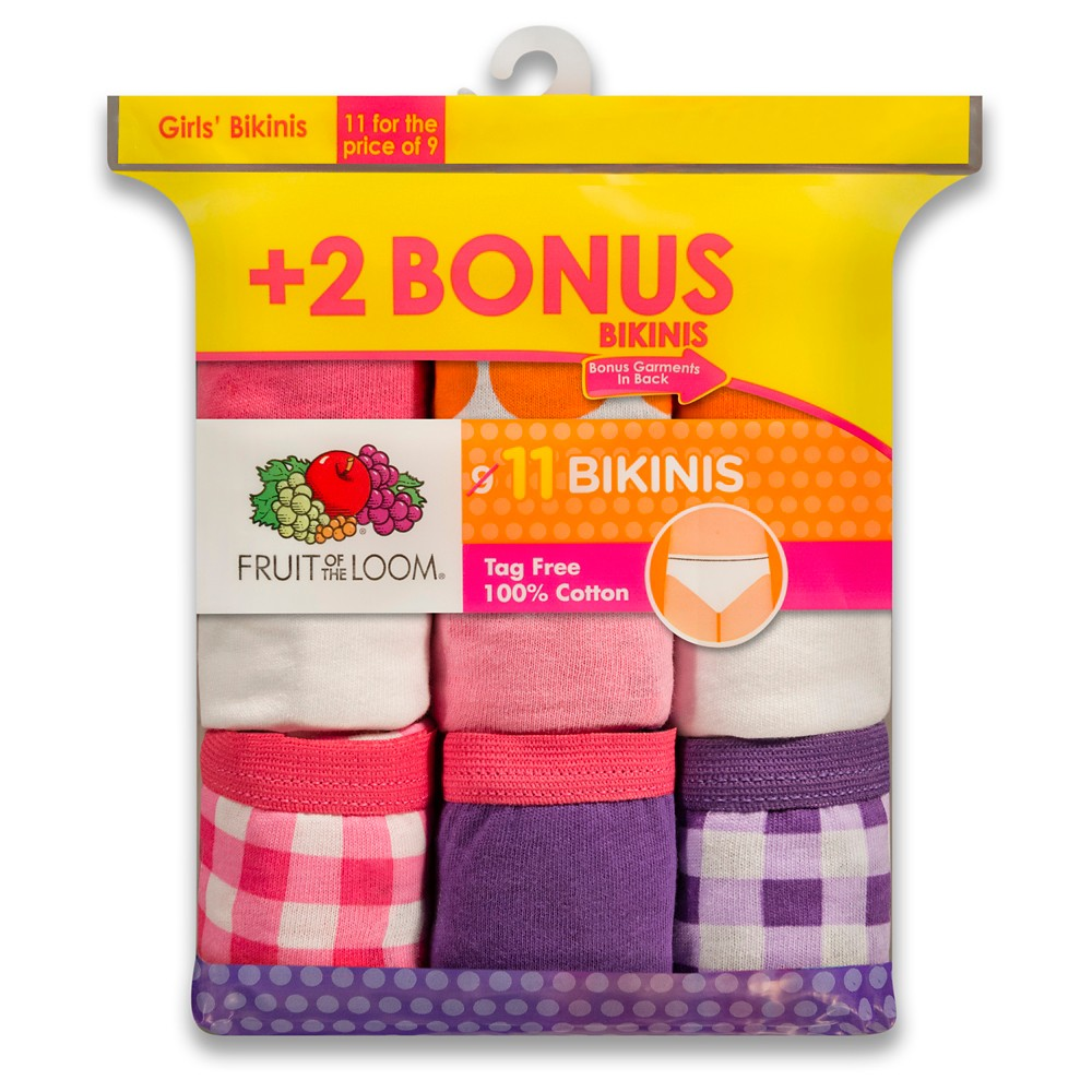 Fruit of the Loom Girls' 9+2pk Bikini Briefs - Multi-Colored - 4