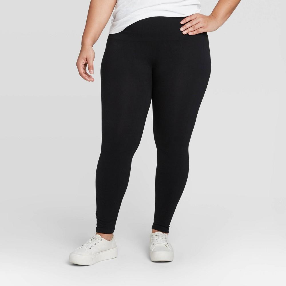 Image of Women's High Waist Cotton Blend Seamless Leggings - A New Day Black 1X, Women's, Size: 1XL