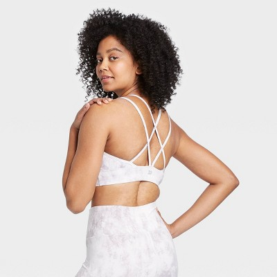 Women's Printed Low Support Strappy Long Line Bra - All in Motion™ Cream M