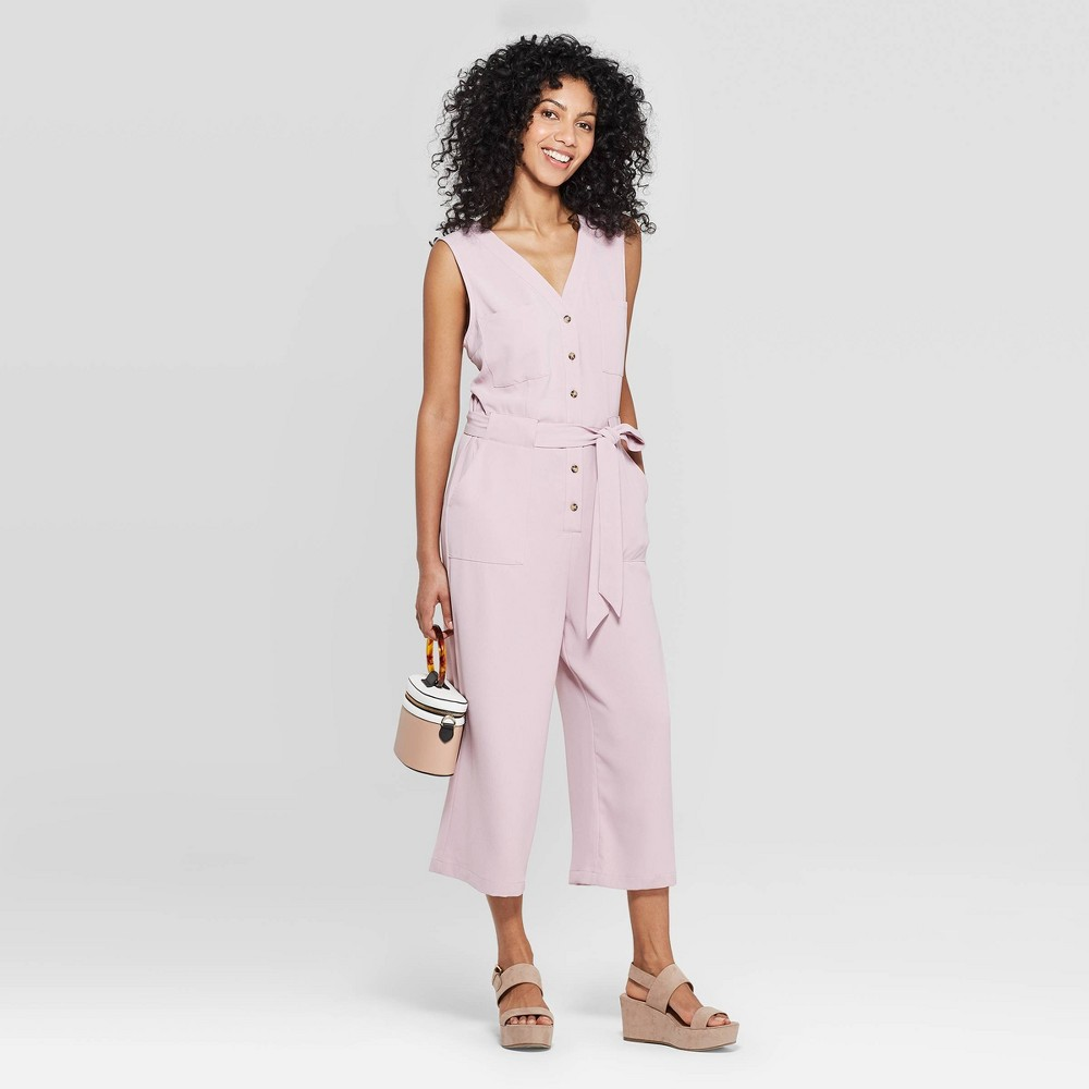 Women's Sleeveless V-Neck Button Front Jumpsuit - A New Day Smoked Pink L