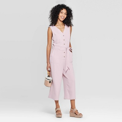view Women's Sleeveless V-Neck Button Front Jumpsuit - A New Day on target.com. Opens in a new tab.