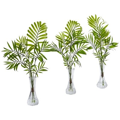 """19"""" x 10"""" 3pc Artificial Mini Palm Plant in Vase Set - Nearly Natural"""