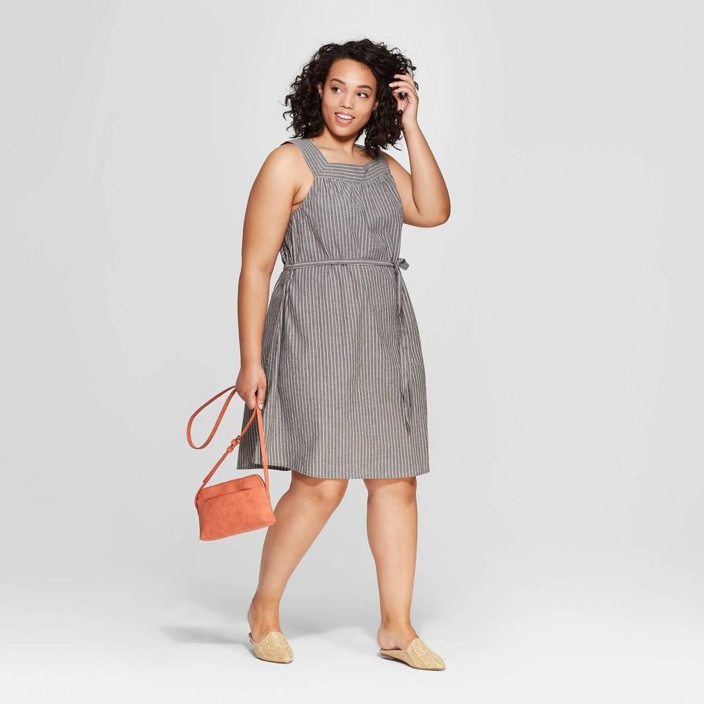 Women's Plus Size Striped Sleeveless Square Neck Dress - Universal Thread Black 4X