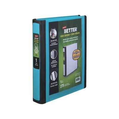 Staples Better Mini 1-Inch D 3-Ring View Binders Teal (20948) 55751/20948