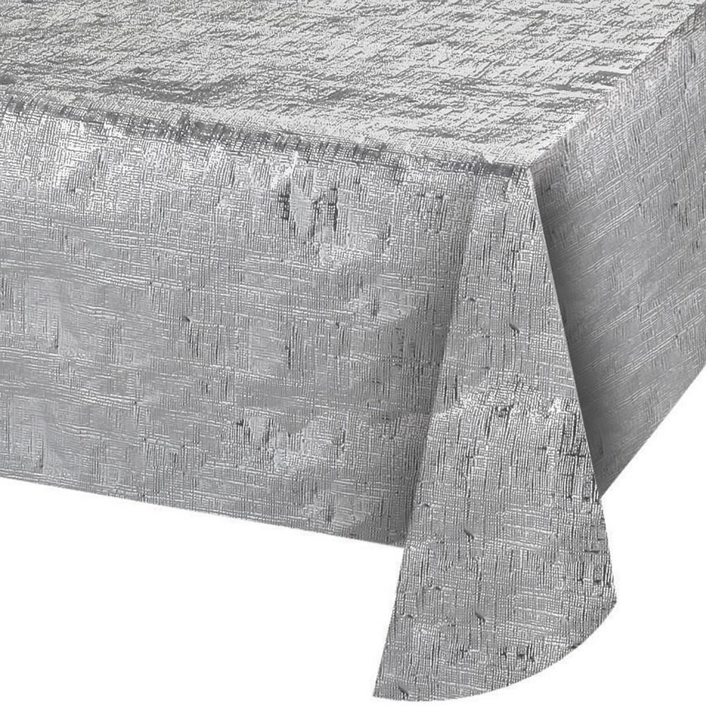 Silver Metallic Silver Tablecloth