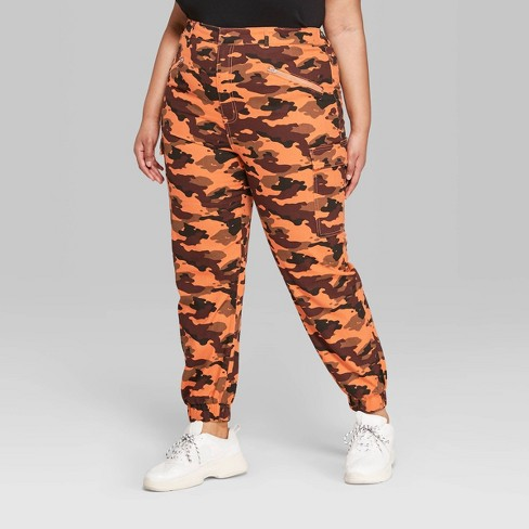 009ad924fc2a2 Women's Plus Size Camo Print High-Rise Cargo Pants - Wild Fable™ Orange