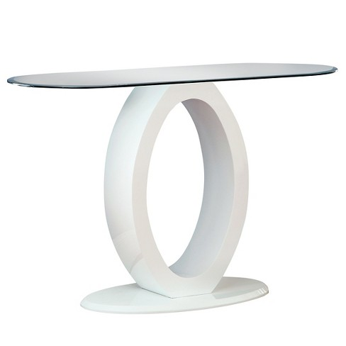 Ozzy High Gloss Oval Gl Top Sofa Table White Furniture Of America