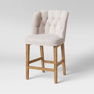 Winfall Tufted Barrel Counter Height Barstool Linen - Threshold™