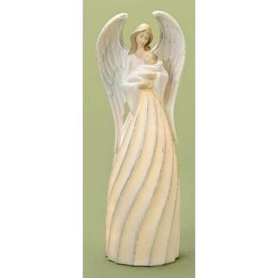 "Roman 10"" White and Beige Angel with Baby Jesus Christmas Nativity Figurine"