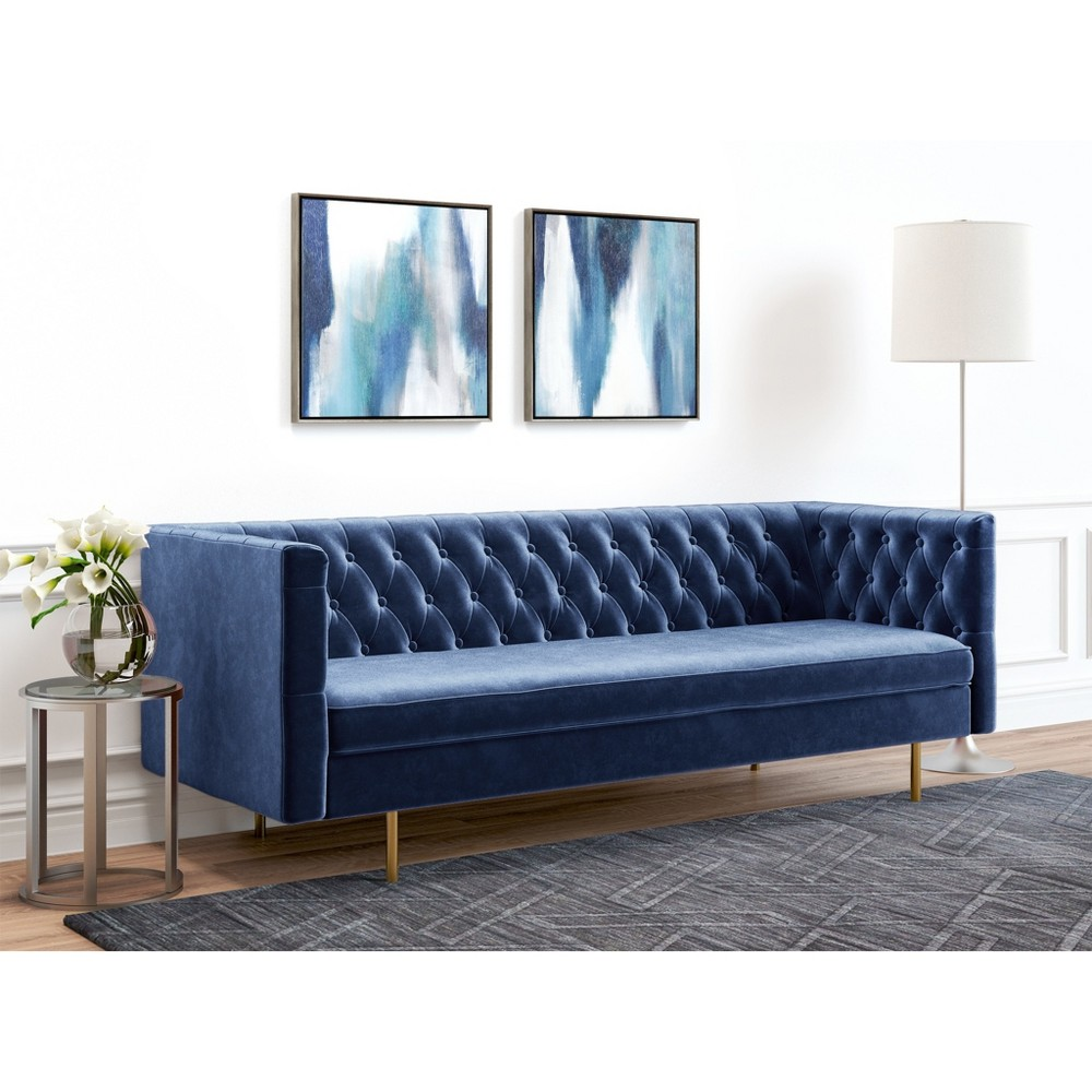 Image of Belinda Tufted Velvet Sofa Royal Blue - AF Lifestlye