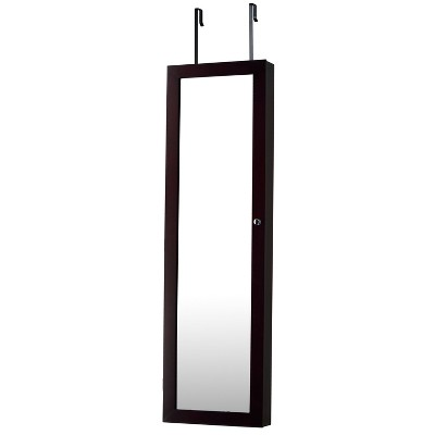 Mirrored Jewelry Armoire Espresso - FirsTime