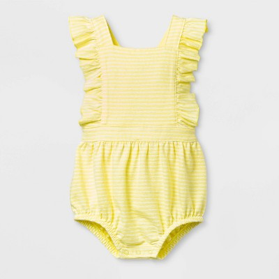 Baby Girls' Textured Knit Romper - Cat & Jack™ Yellow 0-3M