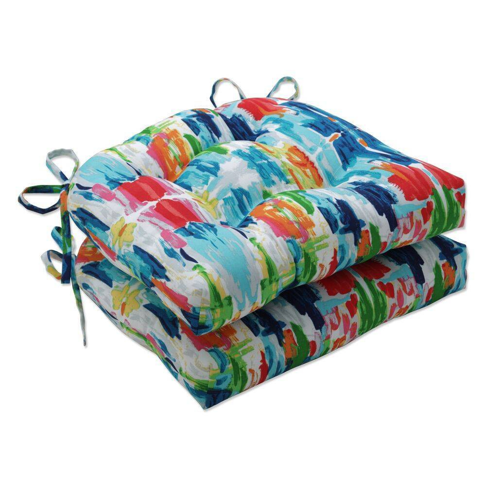 2pk Outdoor Indoor Large Chair Pad Set Abstract Reflections Multi Blue Pillow Perfect