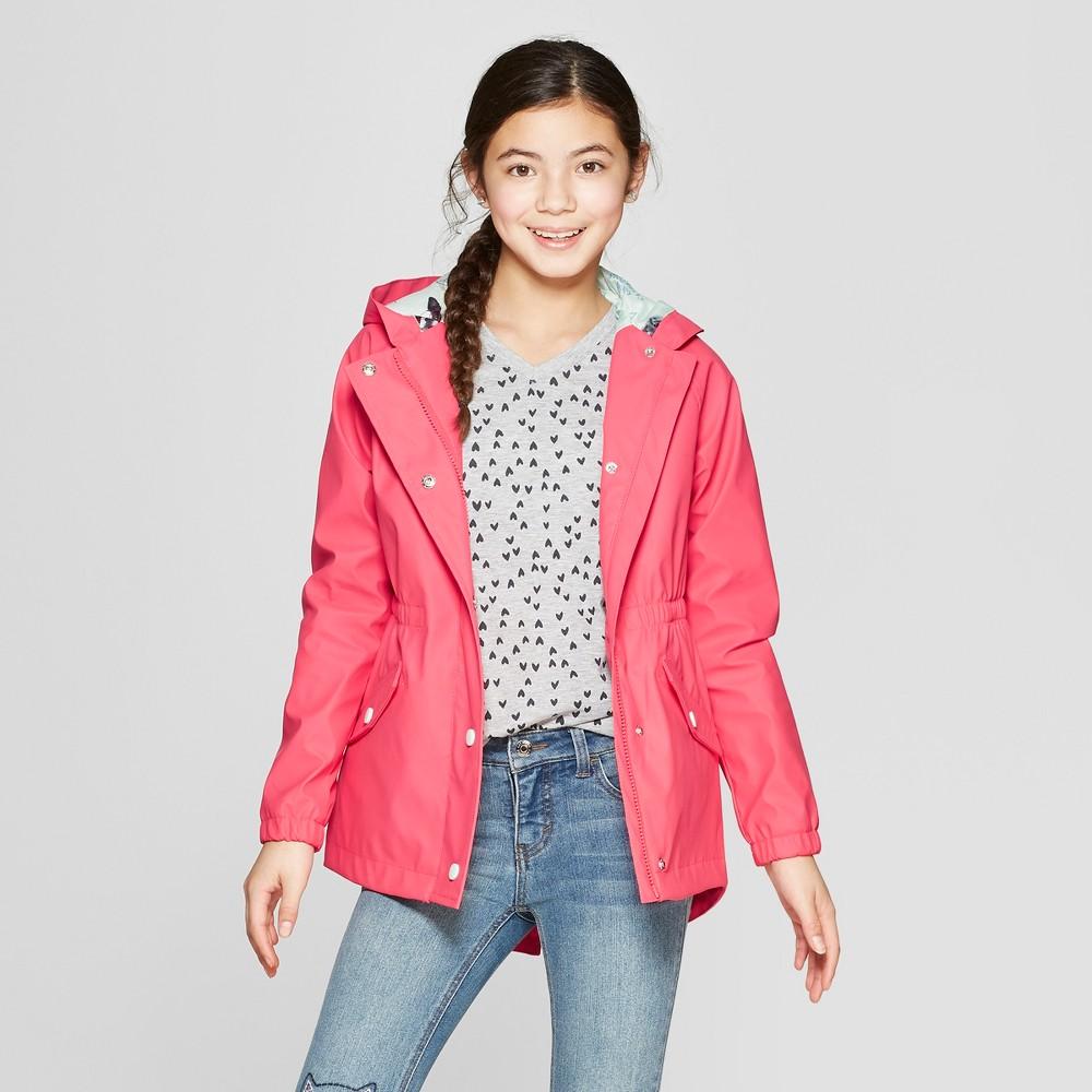Girls' Rain Jacket - Cat & Jack Coral L, Orange