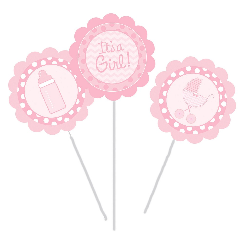 3ct It's a Girl Diy Centerpiece Sticks, Pink