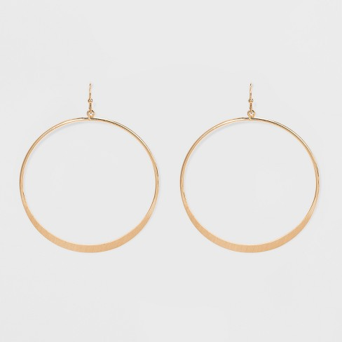 Open Drop Hoop Earrings - Universal Thread™ Gold - image 1 of 4
