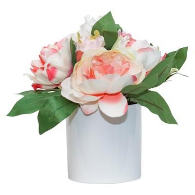 Artificial Peony Arrangement in Ceramic Pot Pink/White 10.5  - Lloyd & Hannah