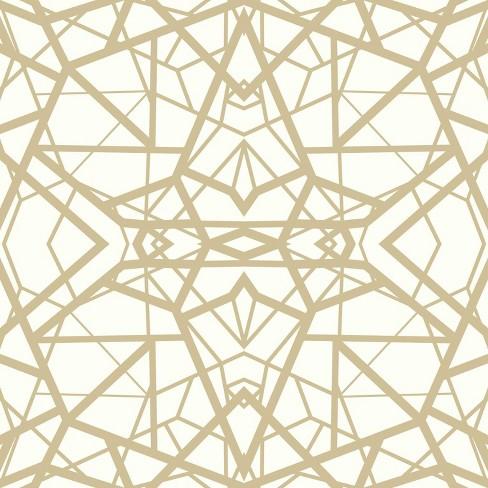 Roommates Shatter Geometric Peel Stick Wallpaper White Gold Target