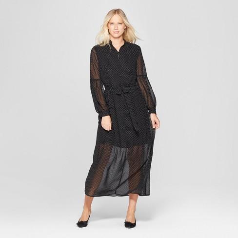 Women S Polka Dot Long Sleeve Belted Maxi Dress Who What Wear