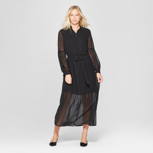 Womens Polka Dot Long Sleeve Belted Maxi Dress Who What Wear