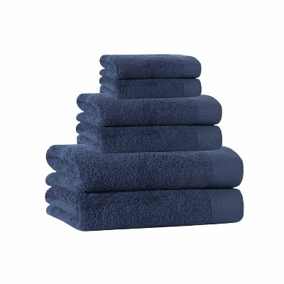 6pc Signature Turkish Cotton Bath Towel Set Blue - Enchante Home