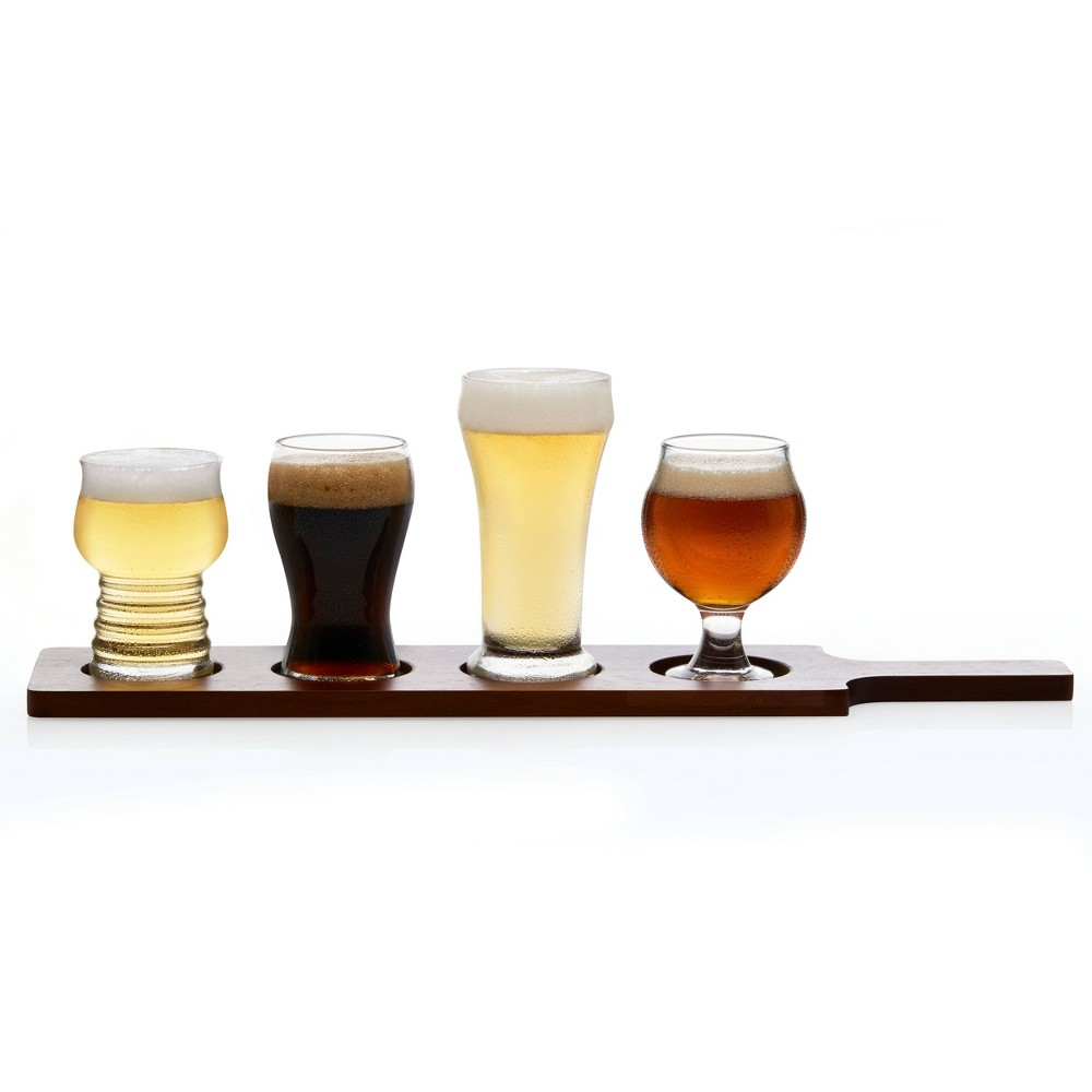 Image of Libbey Craft Brew Beer Tasting Glasses 5oz with Wood Carrier - Set of 4, Brown Clear