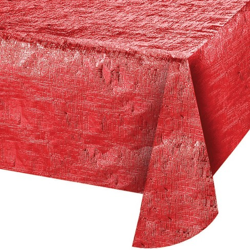 Red Metallic Red Tablecloth - image 1 of 1