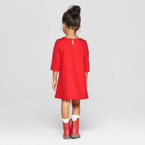 32d127912fa Toddler Girls  3 4 Sleeve Heart Jacquard A-Line Dress - Cat   Jack™ Red