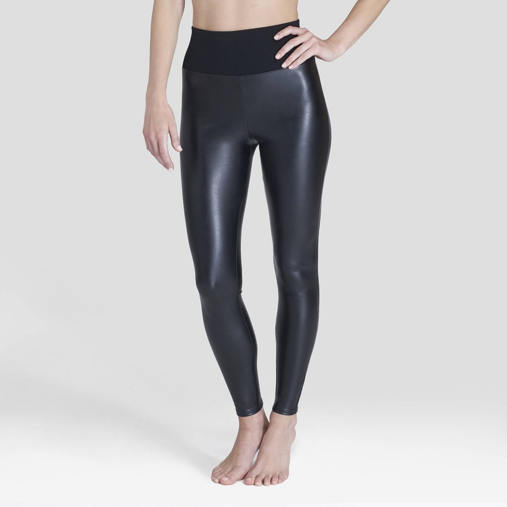 Image of Assets by Spanx Women's All Over Faux Leather Leggings - Black 1X, Size: 1XL