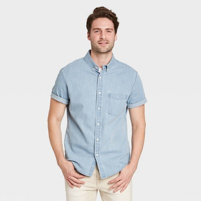 Men's Regular Fit Stretch Denim Short Sleeve Button-Down Shirt - Goodfellow & Co™