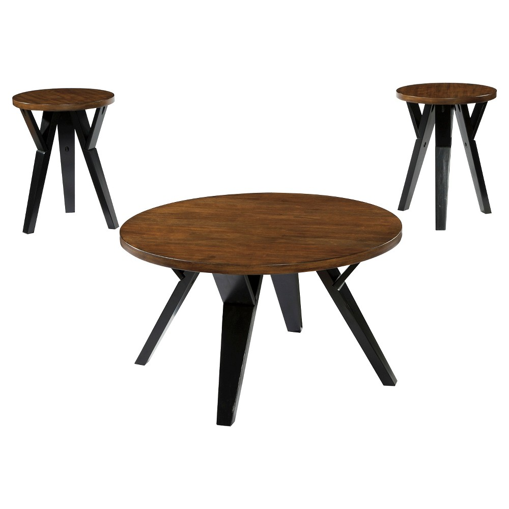 Ingel Occasional Table Set Two-Tone Brown (Set of 3) - Signature Design by Ashley, Bison