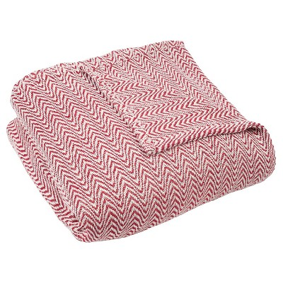 Chevron Cotton Blanket (Full/Queen)Brick - Yorkshire Home®